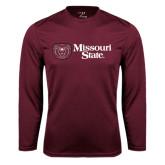 Performance Maroon Longsleeve Shirt-Horizontal Missouri State w/ Bear Head