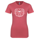 Next Level Ladies SoftStyle Junior Fitted Pink Tee-Bear Head
