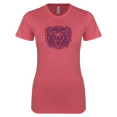 Next Level Ladies SoftStyle Junior Fitted Pink Tee-Bear Head Pink Glitter