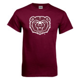 Maroon T Shirt-Bear Head Distressed