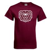 Maroon T Shirt-Bear Head Distressed