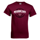 Maroon T Shirt-Missouri State Basketball Arched w/ Ball