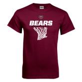 Maroon T Shirt-Bears Basketball Hanging Net