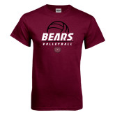 Maroon T Shirt-Bears Volleyball Stacked