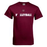 Maroon T Shirt-Volleyball w/ Ball