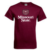 Maroon T Shirt-Bear Head Missouri State Stacked