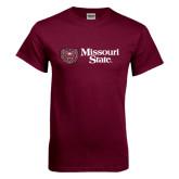 Maroon T Shirt-Horizontal Missouri State w/ Bear Head
