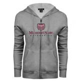 ENZA Ladies Grey Fleece Full Zip Hoodie-Missouri State University Stacked w/ Bear Head