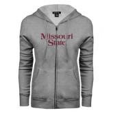 ENZA Ladies Grey Fleece Full Zip Hoodie-Missouri State