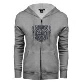 ENZA Ladies Grey Fleece Full Zip Hoodie-Bear Head Graphite Glitter