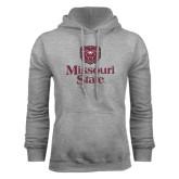 Grey Fleece Hoodie-Bear Head Missouri State Stacked