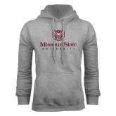 Grey Fleece Hoodie-Missouri State University Stacked w/ Bear Head