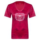 Ladies Pink Raspberry Camohex Performance Tee-Bear Head