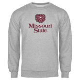 Grey Fleece Crew-Bear Head Missouri State Stacked