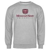 Grey Fleece Crew-Missouri State University Stacked w/ Bear Head