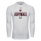 Under Armour White Long Sleeve Tech Tee-Softball Distressed Texture