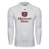Under Armour White Long Sleeve Tech Tee-Bear Head Missouri State Stacked