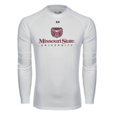 Under Armour White Long Sleeve Tech Tee-Missouri State University Stacked w/ Bear Head