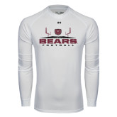 Under Armour White Long Sleeve Tech Tee-Bears Football w/ Field