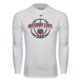 Under Armour White Long Sleeve Tech Tee-Missouri State Basketball Arched w/ Ball