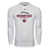 Under Armour White Long Sleeve Tech Tee-Missouri State Baseball Stacked