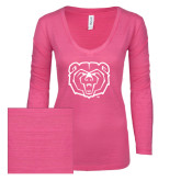 ENZA Ladies Hot Pink Long Sleeve V Neck Tee-Bear Head
