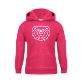 Youth Raspberry Fleece Hoodie-Bear Head