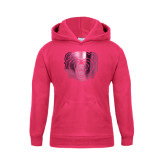 Youth Raspberry Fleece Hoodie-Bear Head Foil