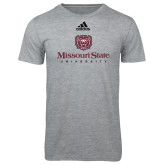 Adidas Sport Grey Logo T Shirt-Missouri State University Stacked w/ Bear Head