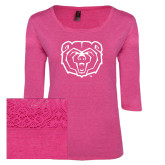 Ladies Dark Fuchsia Heather Tri Blend Lace 3/4 Sleeve Tee-Bear Head