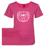 Ladies Dark Fuchsia Heather Tri-Blend Lace Tee-Bear Head
