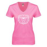 Next Level Ladies Junior Fit Deep V Pink Tee-Bear Head