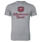Next Level Premium Heather Tri Blend Crew-Bear Head Missouri State Stacked