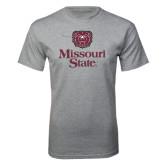 Grey T Shirt-Bear Head Missouri State Stacked