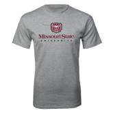 Grey T Shirt-Missouri State University Stacked w/ Bear Head