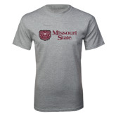 Grey T Shirt-Horizontal Missouri State w/ Bear Head