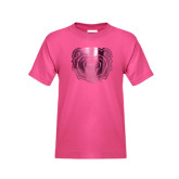 Youth Fuchsia T Shirt-Bear Head Foil