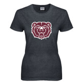 Ladies Dark Heather T Shirt-Bear Head