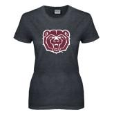 Ladies Dark Heather T Shirt-Bear Head