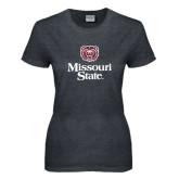 Ladies Dark Heather T Shirt-Bear Head Missouri State Stacked