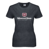 Ladies Dark Heather T Shirt-Missouri State University Stacked w/ Bear Head
