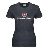 Ladies Dark Heather T Shirt-Missouri State University Stacked w/ Bear Head
