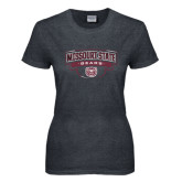 Ladies Dark Heather T Shirt-Arched Missouri State Bears Shield