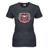 Ladies Dark Heather T Shirt-Bear Head Distressed