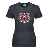 Ladies Dark Heather T Shirt-Bear Head Distressed