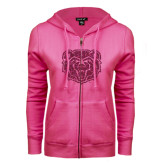 ENZA Ladies Fuchsia Fleece Full Zip Hoodie-Bear Head Hot Pink Glitter