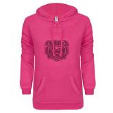 ENZA Ladies Hot Pink V Notch Raw Edge Fleece Hoodie-Bear Head Hot Pink Glitter
