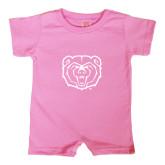 Bubble Gum Pink Infant Romper-Bear Head