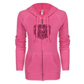 ENZA Ladies Hot Pink Light Weight Fleece Full Zip Hoodie-Bear Head Hot Pink Glitter