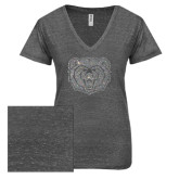 ENZA Ladies Graphite Melange V Neck Tee-Bear Head Silver Soft Glitter